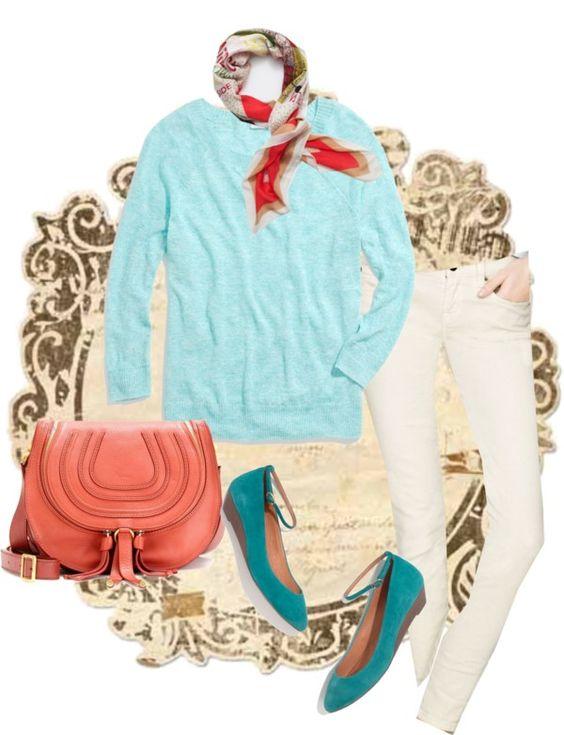 """Madewell Sweatshirt Sweater & Mini Wedges"" by nstob ❤ liked on Polyvore"