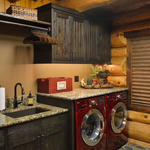 Log Cabin Ceiling Fans Design Ideas Pictures Remodel And Decor Rustic Laundry Rooms Cabin Homes Laundry Room