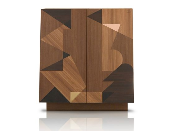 Wooden highboard with doors SCHERMO by Porro | design Alessandro Mendini