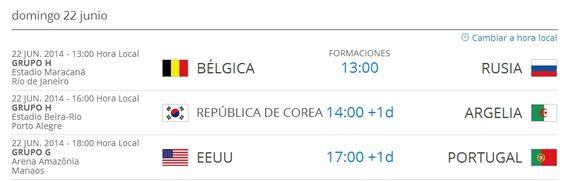 Partidios del MUNDIAL BRASIL 2014 para le día de HOY, Domingo 22 de Junio del 2014. http://www.1502983.talkfusion.com/es/products/