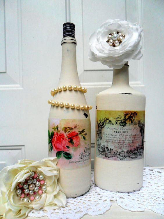 Wine bottle vases french vase wine bottle centerpiece for How to make flower vases out of wine bottles