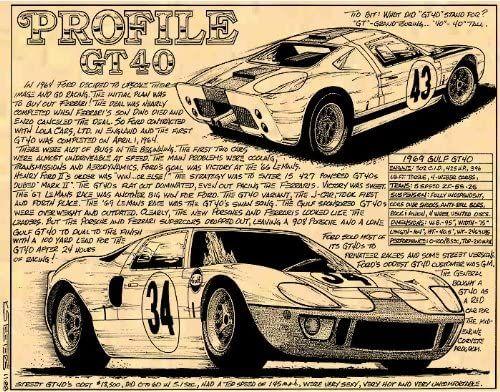 Amazon Com K Scott Teeters Illustrated Corvette Series Ford Gt40 Race Car Art Print Posters Prints Ford Gt40 Gt40 Ford Mustang Cobra
