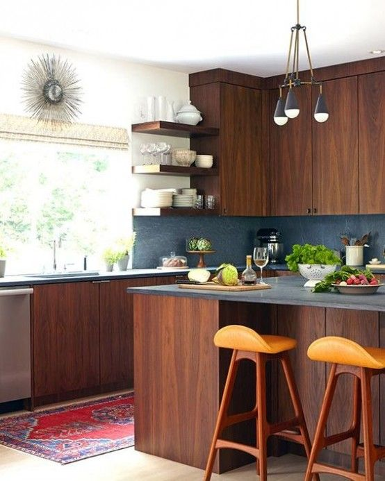 39 Stylish And Atmospheric Mid Century Modern Kitchen Designs   DigsDigs |  Shiping Container HOUSE | Pinterest | Mid Century Modern Kitchen, Modern  Kitchen ...