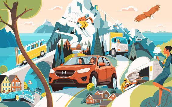 Mazda Norway by illustrator Steve Scott, London, United Kingdom