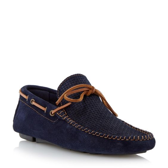 DUNE MENS BEACH COMBER - Weave Print Driver Loafer - navy   Dune Shoes Online