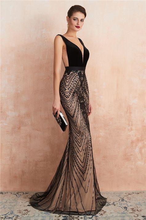 Vestido de formatura preto luxo
