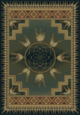United Weavers Genesis Area Rug 130-52145 Dream Catcher Green Native American Circles from PowerSellerUSA at SHOP.COM