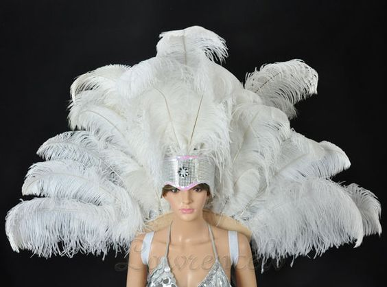 White+Open+Face+Headdress+backpiece+Ostrich+Feather+by+lawrencelv,+$178.00