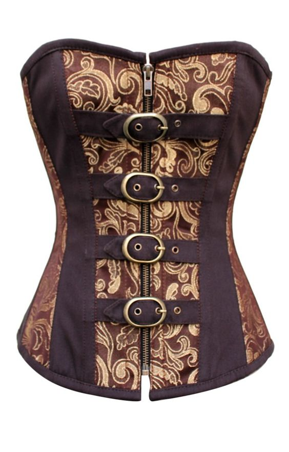 This steampunk corset in traditional brown and gold is decorated very much in the Renaissance style and is made by only our finest tailors. It comes with a mild sweetheart bust line which will accentuate the cleavage without causing any embarrassment and is secured in three different ways meaning that you'll always be kept safe inside.  The corset features a 100% cotton lining meaning that it can be worn for long periods of time without any discomfort. Add this to the fact that the internal…