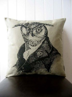 Slightly sinister owl, pillow. The New Victorian Ruralist.