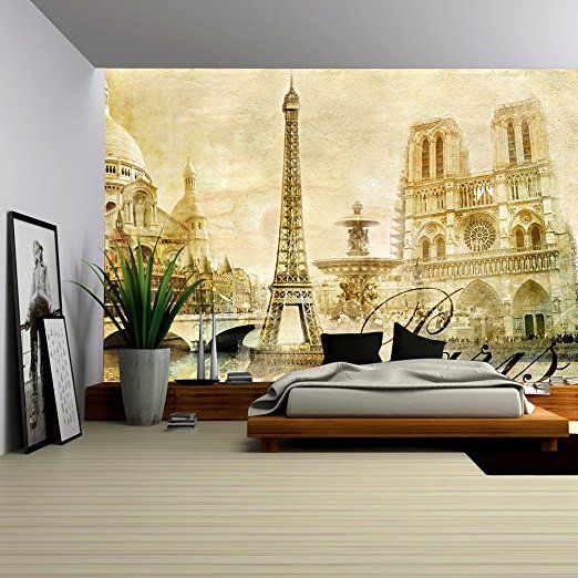 Wall26 Amazing Paris Vintage Clipart Removable Wall Mural Self Adhesive Large Wallpaper 66x96 Inche Removable Wall Murals Paris Wall Decor Paris Wall