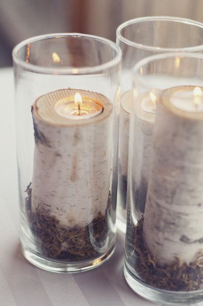 I have a weakness for white birch. Great decor idea for Thanksgiving or winter parties.: