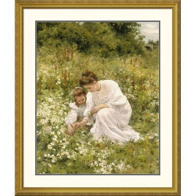 Global Gallery 'Picking Daisies' by Hermann Seeger Framed Graphic Art Size: