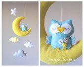 Baby mobile - Moon mobile - owl mobile - cloud mobile - yellow and aqua mobile