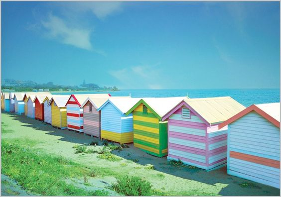 colourful beach huts:
