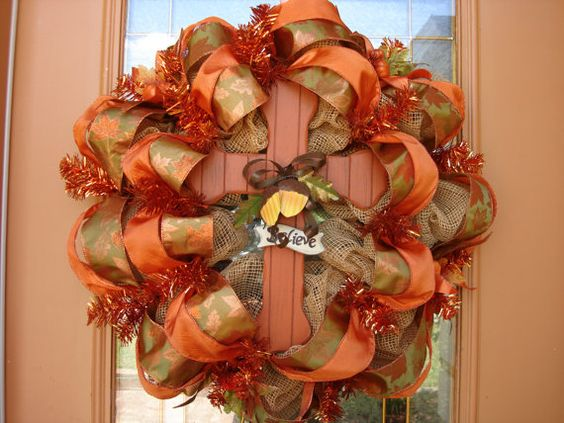 Deco Paper Mesh Fall Cross Wreath by DecoDzigns on Etsy, $95.00