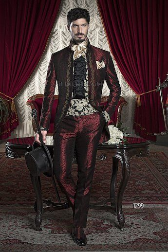 ONGala 1299 - Burgundy Brocade Dress for Groom with Golden Embroidery