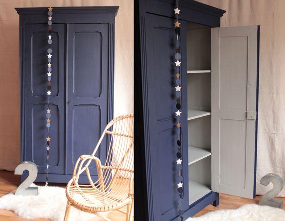 Armoire parisienne penderie chambre enfant bleu nuit gris clair trendy little 1 meubles - Armoire enfant fille bleu ...