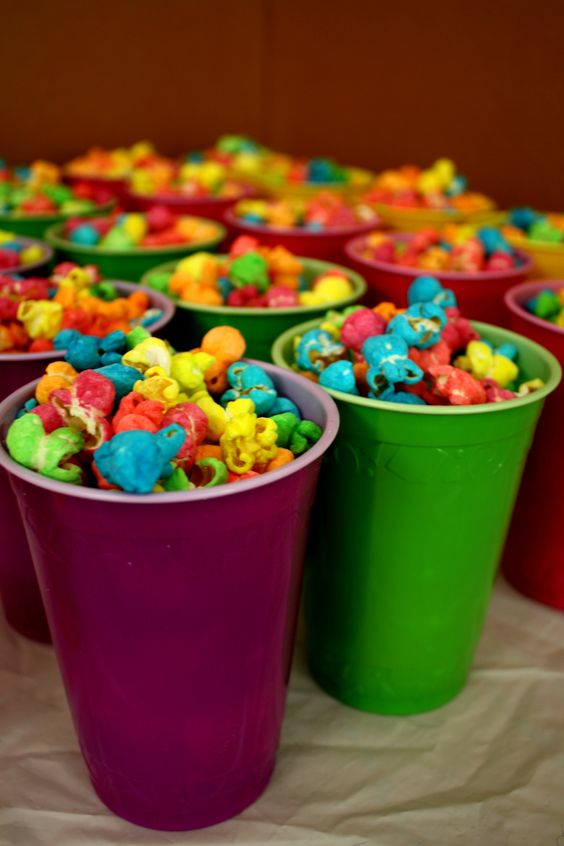 Rainbow birthday party - popcorn - in coloured solo cups, much easier