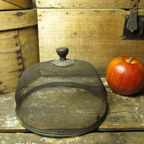 Granny's Early Old Small Sized Fly Screen Food Cover - Wood, Tin, Mesh #HannahsHouseAntiques #primitives http://www.rubylane.com/item/497177-9385/Grannyx27s-Early-Small-Sized-Fly-Screen