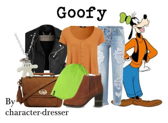 Goofy From Mickey Mouse by character-dresser on Polyvore featuring polyvore Dsquared2 Office Dorothy Perkins Disney Patagonia Burberry fashion style clothing