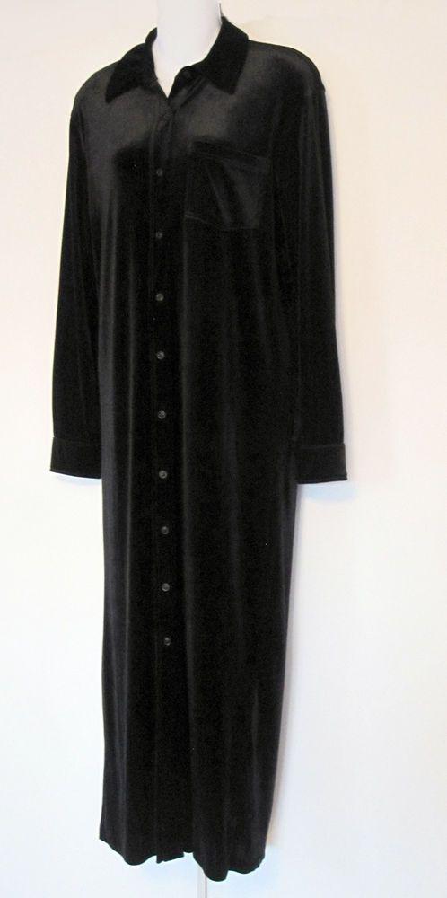 Ralph Lauren Dress M Black Velvet Velour Long Sleeve Shirt Dress Stretch Medium #LaurenRalphLauren #ShirtDress #Casual