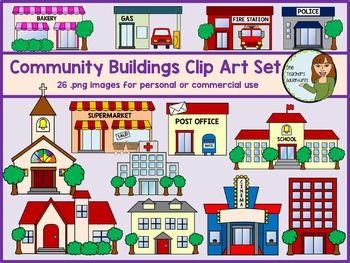 Community Buildings Clip Art Set 26 Images For Personal And Commercial Use Sunday School Crafts Community Building Clip Art