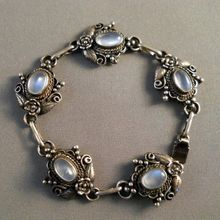 Vintage Sterling Silver Moonstone Bracelet Very Ornate from Suzy's Timeless Treasures on Ruby Lane