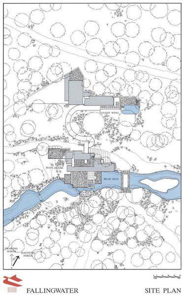 Fallingwater house plan du site et de l 39 implantation de for Maison cascade