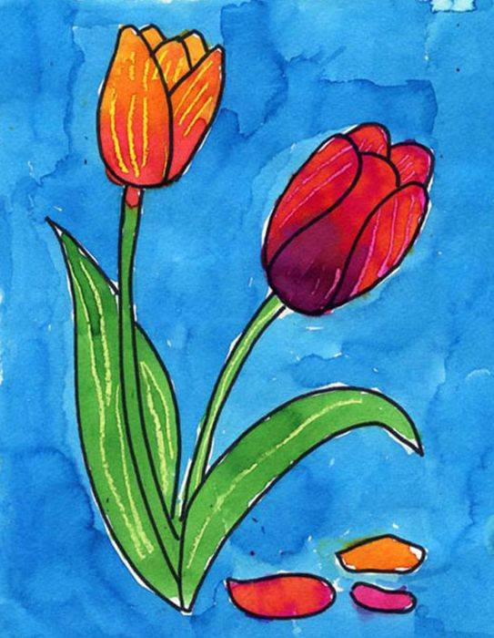 Draw A Tulip Art Projects For Kids In 2020 Spring Art Projects Kids Art Projects Tulips Art