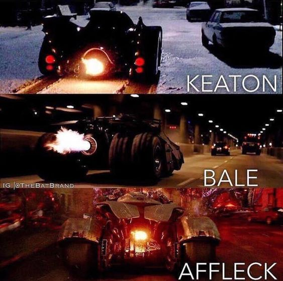 Keaton vs Bale vs Affleck Bat Mobile