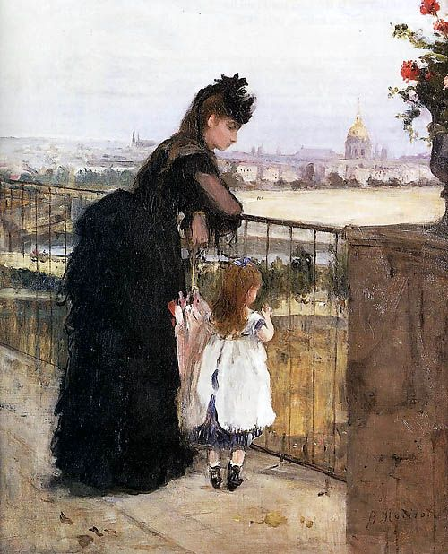 1872 Berthe Morisot (French Impressionist, 1841-95) ~ On the Balcony: