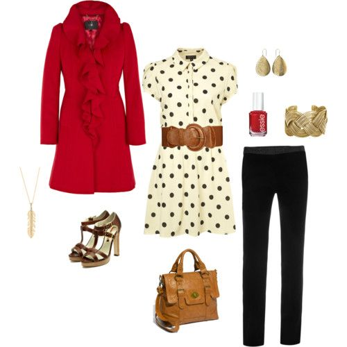 Love the red jacket and polka dots