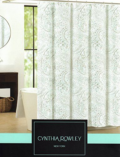 Cynthia Rowley Waterdrop Paisley Fabric Shower Curtain 72 Inch By 72 Inch Shower Curtain Green