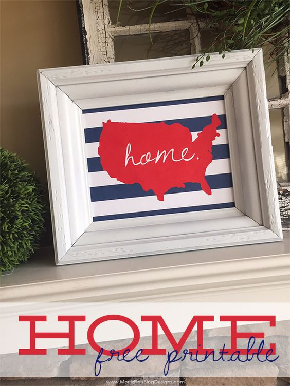 A quick, simple way to decorate your house this year is to use this U.S. Home 4th of July Printable. Print and hang of use it on your holiday buffet table.