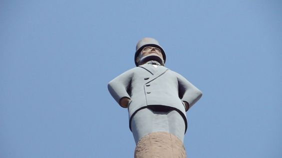 Abraham Lincoln's likeness rests at the top of this giant totem pole.