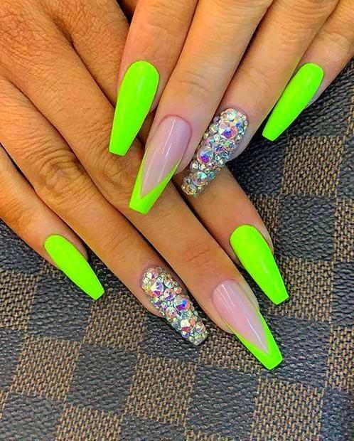 Acrylic Nails Coffin Green Acrylic Nails Neon Nail Designs Neon Nails