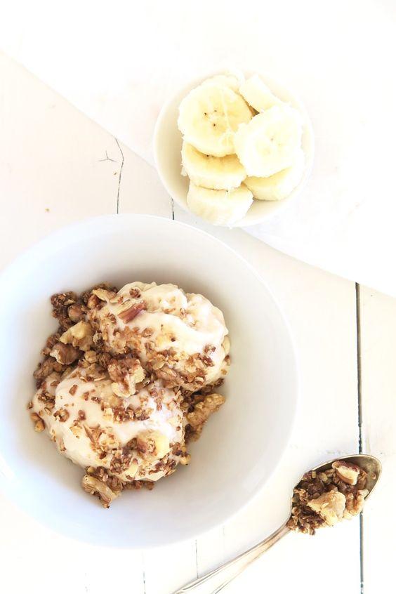 Healthy bananen ijs met salted caramel crunch