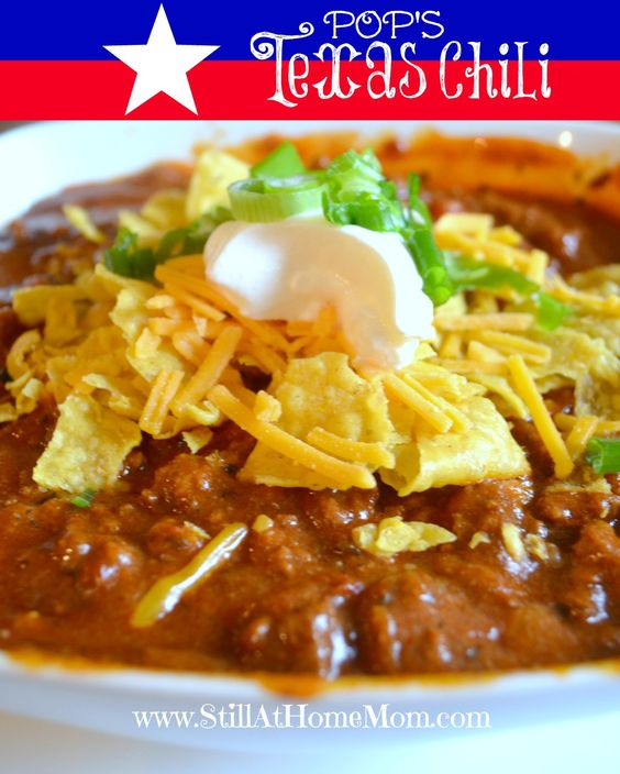 Pop's Texas Chili -- REAL Texas chili. The perfect amount of spice, thick and saucy, and NO beans. Because real chili doesn't have beans. :)