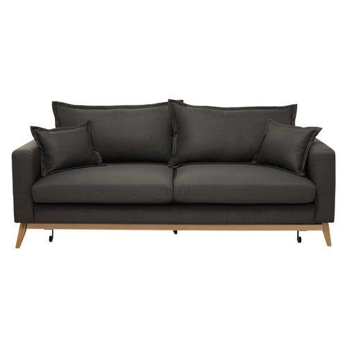 Ausziehbares Sofa 3-sitzig aus Stoff, graubraun