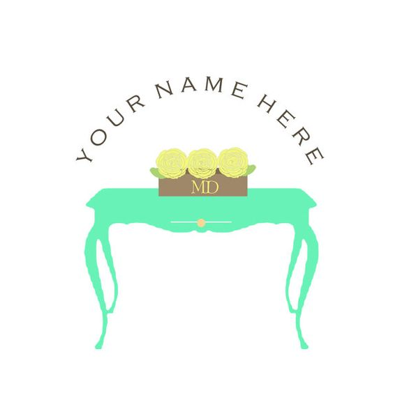 Re-furbished Table Logo & Watermark Design - Branding - Small Business -  Boutique - Vintage - Furniture - Paint - Floral - Antique