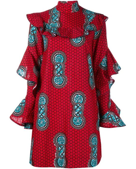 This red and multi-coloured Stella Jean 'Comandante' ruffle sleeve dress is from the Italian-Haitian's energetic SS '16 collection. Meticulously crafted in Italy, this A-line cotton dress features a standing collar, ruffled yoke, long sleeves with cascading ruffle details, vibrant repetitive print and a concealed back zip fastening. To channel the striking runway look, style yours over a full length white floral print skirt and with a gingham print clutch.