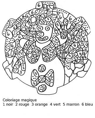 Maternelle Coloriage Magique Bonhomme De Neige Au B 226 Ton