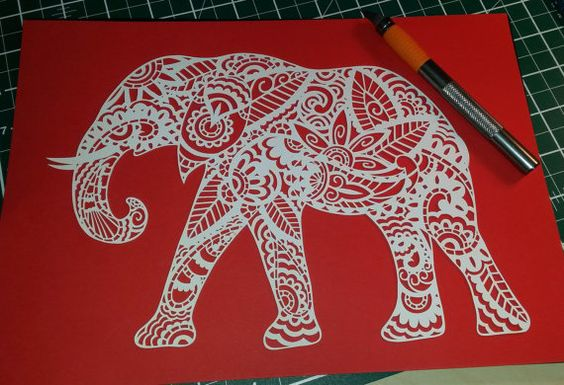 Paisley Elephant DIY Paper Cutting Template by LollipopLettersCuts