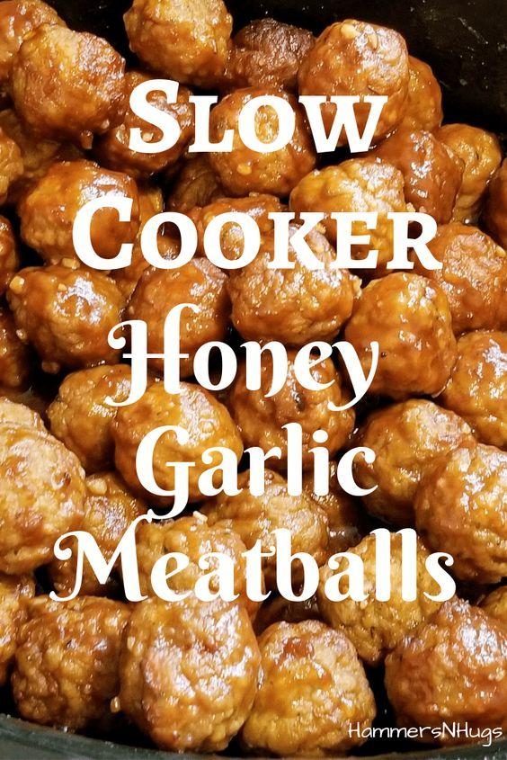 Slow Cooker Honey Garlic Meatballs - Hammers N Hugs