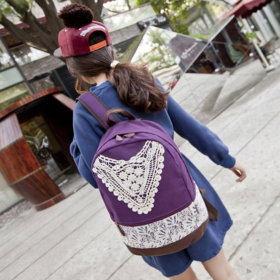 Amazon.com: Coofit® Purple Girls Canvas Hollow Out Lace Leisure Rucksack for Travelling School: Clothing
