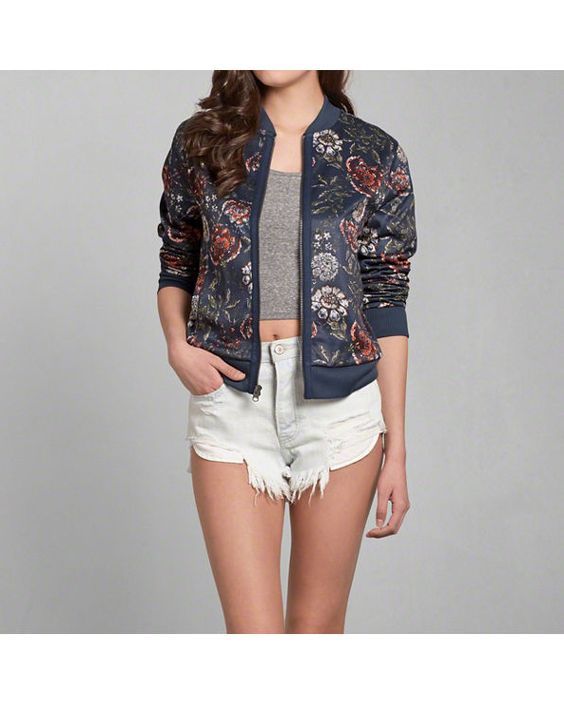 abercrombie and fitch women embroidered bomber jacket | Womens ...