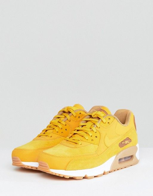 Nike Air Mustard With Gum Sole Trainers 90 Max Suede OkZuiwPXT