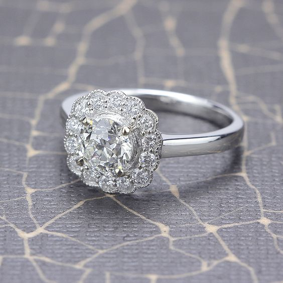 Halo Engagement Ring with Vintage Diamond - LM1109-01