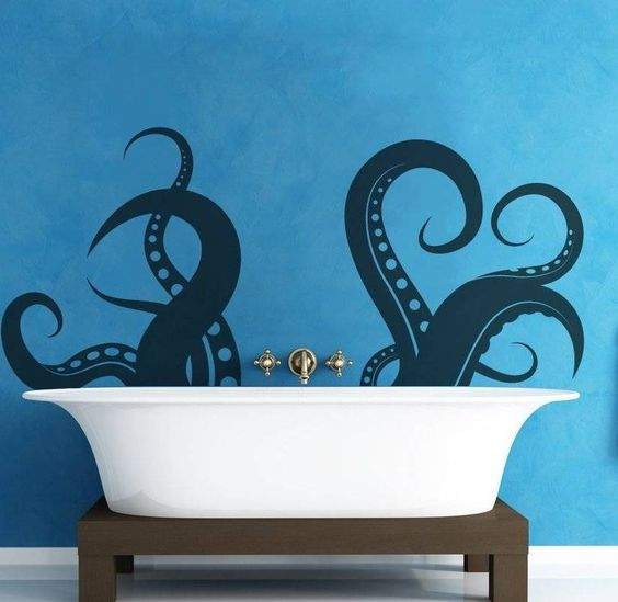 Home Design and Decor , Decorative Bathroom Wall Art : Bathroom Wall Art Octopus Hands Decal Behind Freestanding Tub With Wooden Legs And Wa...